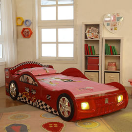 Cartoon Bedroom / Kids Playroom Furniture Children Racing Car Bed With LED Lights